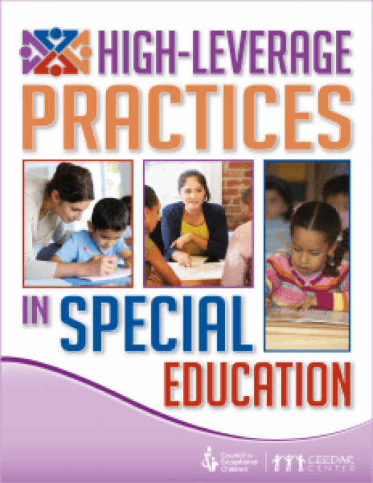 "Cover of ""High-Leverage Practices in Special Education,"" which features 3 photos of teachers and young children learning"
